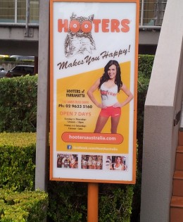 Hooters Freestanding Light Box