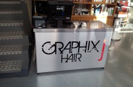J Graphic Hair Brushed Aluminium Reception Sign with Vinyl
