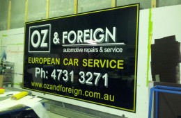 Oz & Foreign external wall sign, ready to go!