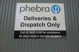 Phebra Warehouse sign