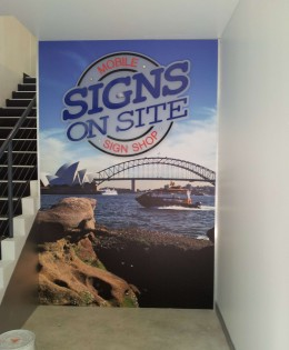 Signs on Site Foyer Wall Graphic and 3D Logo