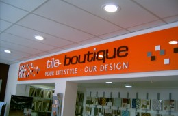 Tile Boutique Gloss Panel with 3D letters, logo and images