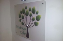 Treetops Cafe 3D sign with Brushed Aluminium Stand Offs