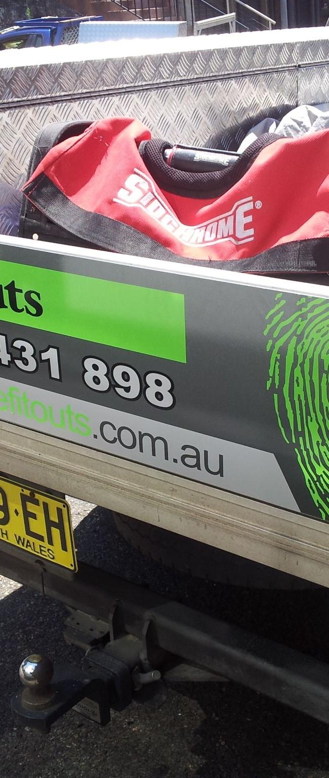 Unique Fitouts Ute Tailgate Sign