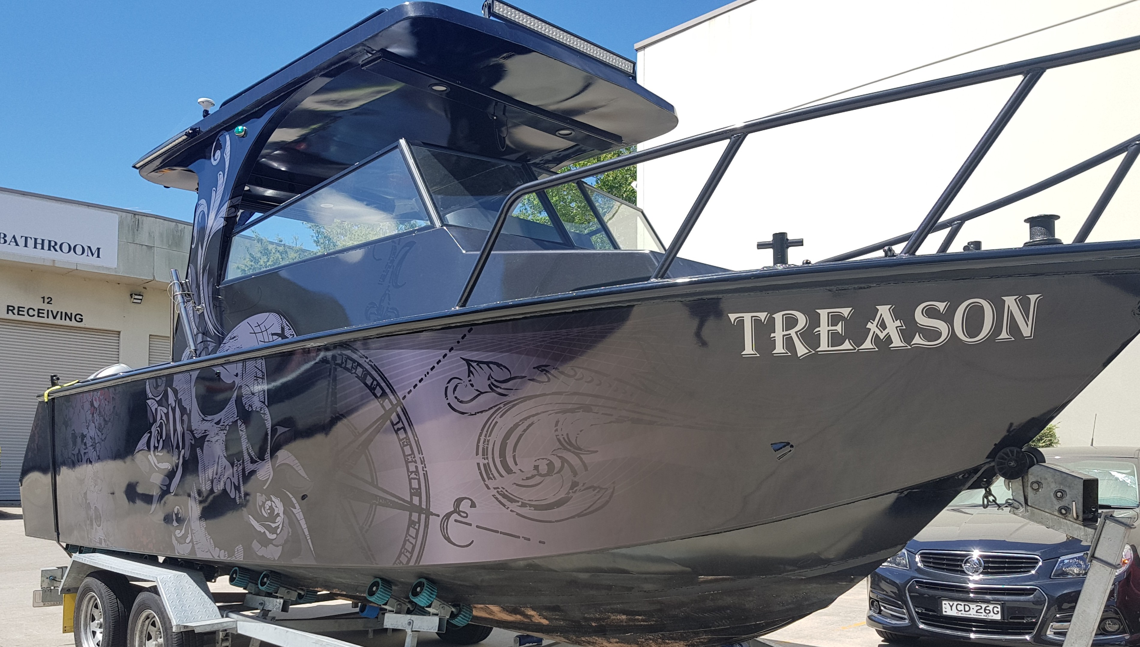Boat Graphic – 3M Metallic, Day of the Dead theme